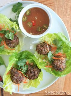 Vietnamese pork meatballs in lettuce cups