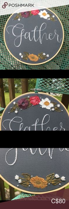 Floral Gather Sign home decor. Wall Art Designs, Home Wall Art, Tapestries, Hoop, Bamboo, Cotton Fabric, Hand Painted, Embroidery, Elegant