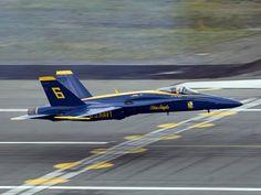 USN Blue Angels - F-18 Hornet just above the deck