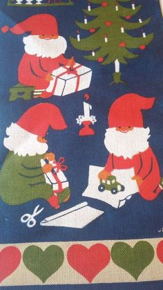 Vintage Scandinavian Swedish Jerry Roupe Christmas Wall Hanging Tapestry Gnomes