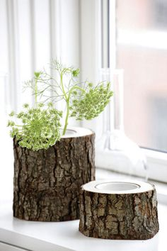 Tall and short vases made from tree branches add a fun, rustic touch.