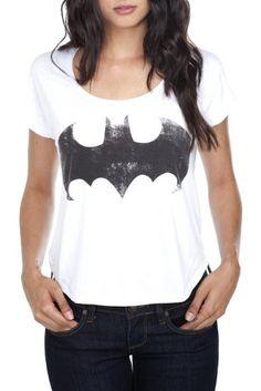 Amazon.com:  DC Comics Distressed Batman Logo Crop Top: Clothing