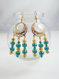 Beaded Blue Swarovski Crystal Earrings, with Gold plated spacers on Dangle Earrings by TexCajunJewelry