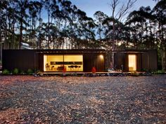 Small modular home in Musk, VIC by Modscape. This eco friendly home has been built for a high bushfire prone area and is the ideal modular getaway. Sea Container Homes, Container House Plans, Container Shop, Small Modular Homes, Tiny Homes, Silo House, Container Architecture, Daylesford, The Perfect Getaway