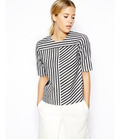 Jumper With Woven Front In Vertical Stripe