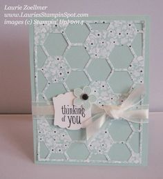 Stampin' Up! ... handmade greeting card: Sweet Sorbet Hexagon Hive ... luv how patterned paper is used for the die cut top layer with the same color as the card base showing through ...