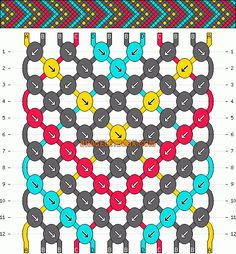 tribal geometric chevron dots friendship bracelet pattern - four 4 color DIY