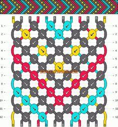 tribal geometric chevron dots friendship bracelet pattern - four 4 color DIY