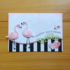 Card critters bird birds MFT flamingo DIE-NAMICS FLAMINGOS