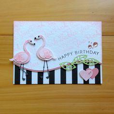 Card critters bird birds MFT flamingo DIE-NAMICS FLAMINGOS
