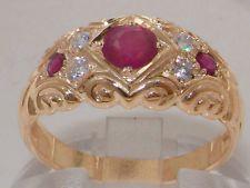 твердый 9K розовое золото натуральный Рубин и бриллиант винтажный стиль кольцо
