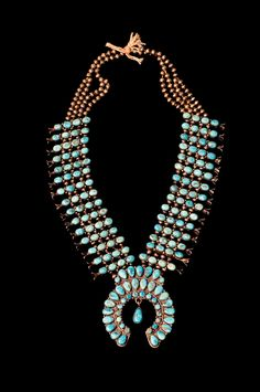 Awesome Navajo Zuni style turquoise cluster necklace - circa 1940