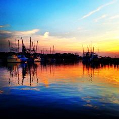 Sunset over Shem Creek in Charleston
