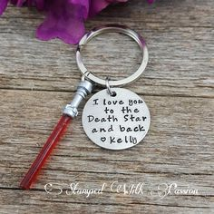 This unique hand stamped Star wars gift is the perfect present for that  nerdy person in your life....Boyfriend, Son, Dad or Daughter.   Love You to the Death Star and Back Star Wars Keychain #valentinesideas #ad #giftideas #starwars #thelastjedi
