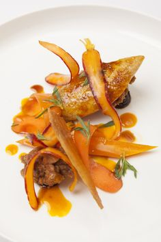 Savory quail with carrot garnishes. One of the plates featured in Burnt