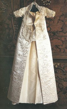 PRINCESS ELIZABETH'S (later Queen Elizabeth I of England) CHRISTENING GOWN (sewn and embroidered by her mother, Queen Anne Boleyn, in 1533)