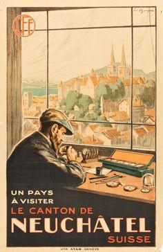 Neuchâtel, Switzerland Travel Poster (Swiss Federal Railways (CFF in French), 1920s)   Artist Edouard Elzingre (1880-1966)