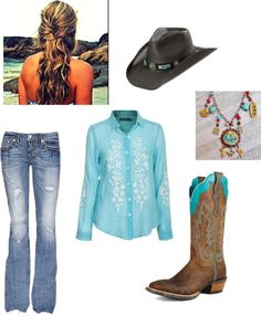 """""""Teal Cowgirl outfit"""" by clancy-jeriah-gloor on Polyvore"""