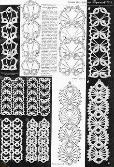 Crochet Patterns Headband crochet chart – would be cute as crocheted headbands, too.Crochet card – would also be cute as crocheted headbands. Crochet Cord, Crochet Lace Edging, Crochet Bracelet, Freeform Crochet, Crochet Diagram, Thread Crochet, Filet Crochet, Crochet Edgings, Crochet Flowers