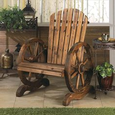 Western-style living has never been more charming or relaxing! This welcoming outdoor chair features slatted wood and wagon wheel arm rests. Some assembly required. Finished fir, metal and wood. Dimen