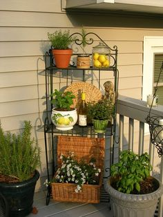 upstairs downstairs: Bakers Rack and Other Weekend Projects - herb garden.