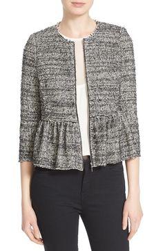 Rebecca Taylor Stretch Tweed Peplum Jacket