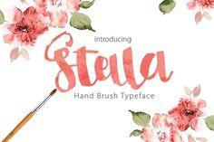 Stella brush script typeface by mr.rabbit on Creative Market Lettering Design, Hand Lettering, Letters Of Note, Script Typeface, Stylish Fonts, Hand Drawn Fonts, Cute Fonts, Retro Font, Brush Font