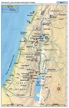 The Holy Land in New Testament Times- map (for primary song) World Map Europe, Primary Songs, Jesus Stories, Bible Stories, Bible Mapping, Bible Resources, Bible Knowledge, Old Testament, Jesus Is Lord