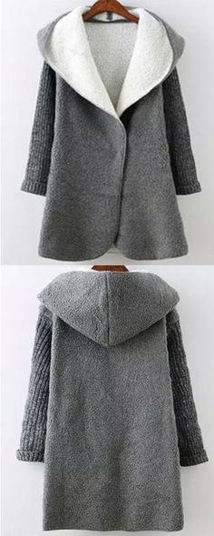 Grey coats, giving you warm, making you fashion and cute. You will be the bight star in winter. Hooded Sweater, Sweater Coats, Sweater Jacket, Sweaters, Coats For Women, Jackets For Women, Clothes For Women, Diy Kleidung, Grey Coats