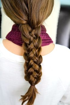 "Stacked Braids | Start with feather braid then dutch braid the ""feather"" remains. Hold both together with an elastic.   For the feather braid ==> 3 strands. Instead of adding hair like a french, you start with your hands full and keep subtracting hair from left and right strands."
