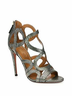 556dd7d9535cf3 Aquazzura - Athena Textured Metallic Leather Sandals