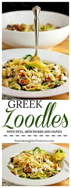 Greek Zucchini Noodles with Feta, Olives, Artichokes and Tomatoes + Meal Plan Monday #3 - Sustaining the Powers