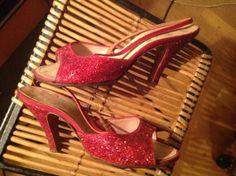 1950s red glitter Springolator slingbacks