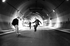 Ondrej Horak, skaters on Blanka, the underground closed highway in Praga