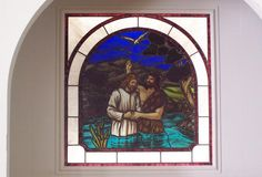 """DbyD-7334.  This 48"""" X 48"""" Stained Glass Window was built and installed in the Baptismal at Autaugaville Baptist Church in Autaugaville, Alabama.  We designed and built the light-box so that it could be lighted from the rear and is the focal point in the Sanctuary of this church."""