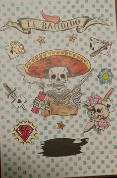 El bandido. Do livro colorindo tatuagem