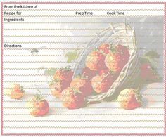 A few recipe cards using a different template -- these are free for you to use, but do not copy or sell them. Images courtesy of: Micro...