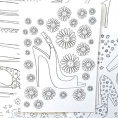 "DIY Be Your Own Fashion Artist Coloring Card of the day.... Color and create! From the ""fabulous shoes"" collection....set of ten cards and envelopes!"