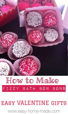 I love fizzy bath bombs! These are super cute packaged in candy boxes.  #valentine_gift_idea #homemade_bath_products
