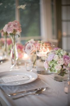 almost too pretty - elegant pink floral, white, candles // style me pretty
