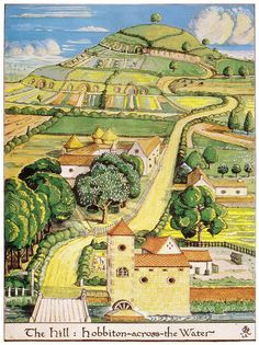 The neat, sweet gardens of Hobbiton. J.R.R. Tolkien's own illustration for The Hobbit.