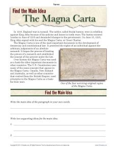 Students read a few paragraphs about the Magna Carta and write the main idea and two supporting ideas on the lines provided. World history. Printables. Worksheets. Social studies.