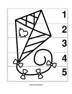 Number Sequence Preschool B&W Picture Puzzle -- Flying Spring Kite from Worksheet Teacher Preschool Puzzles, Free Kindergarten Worksheets, Preschool Lessons, Numbers Preschool, Preschool Printables, Spring Words, Number Sequence, Teaching Numbers, Picture Puzzles