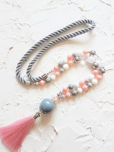 Pink necklace, Grey necklace, Long necklace, Tassel necklace, Pastel necklace, Coral necklace, Jasper necklace, Crystal necklace, Women gift by GentleColorsJewelry on Etsy