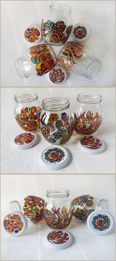 RichanaDragon ||| Zentangly. Glass jars with rainbow colors pattern. (Cross-circles, Lace Bloom, Rainbow Seaweed.) Hand painted stained glass. | Coupon code RICHPINTEREST (10% off)