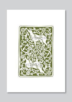 Deer art print nature ornament green digital graphic by Vinspiro, $18.00