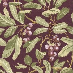 Vintage Laura Ashley, Floral / Green Leave and Red Berries on Burgundy Background