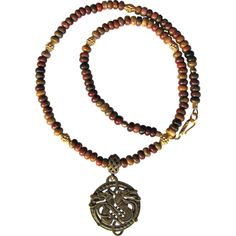 Celtic Wolf Brass Pendant on Men's Necklace of Cherry Creek Jasper and... ❤ liked on Polyvore featuring men's fashion, men's jewelry, men's necklaces, mens pendant necklace, mens necklaces, mens watches jewelry, mens pendants and mens celtic cross necklace