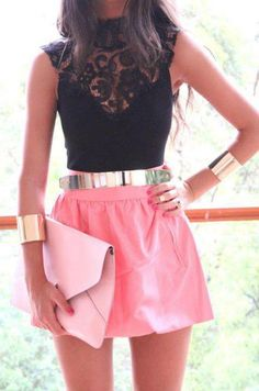 Lace top, pink skirt, pink clutch, gold accessories