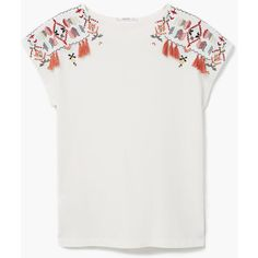 MANGO Embroidered Cotton T-Shirt ($30) ❤ liked on Polyvore featuring tops, t-shirts, off white, cotton t shirt, embroidered t shirts, mango tee, tassel top and embroidery top
